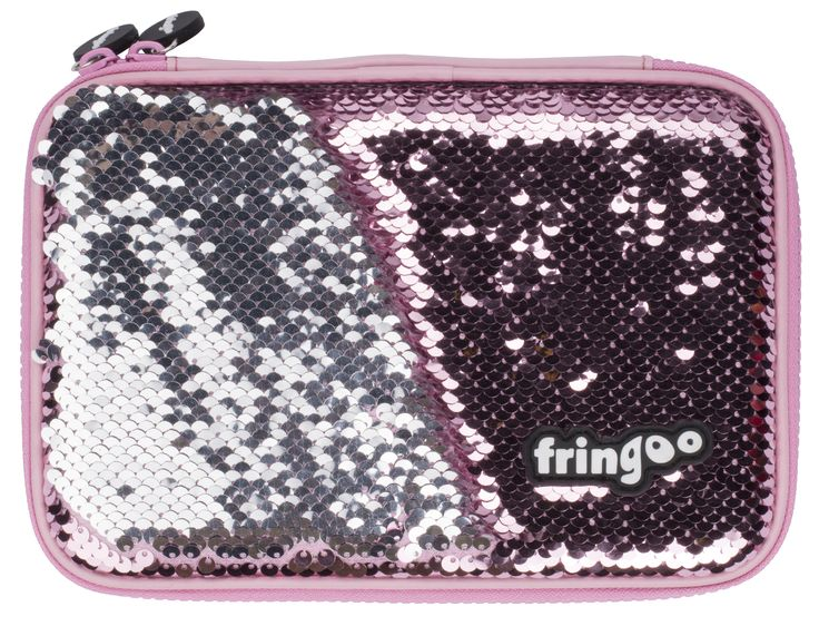 Sequin pencil case for girls. Unique, mermaid scales, pink stationery organiser for school age kids.