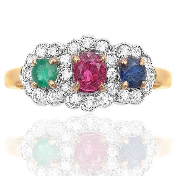 So Pretty....Triple Daisy in Emerald, Ruby & Sapphire with Diamonds