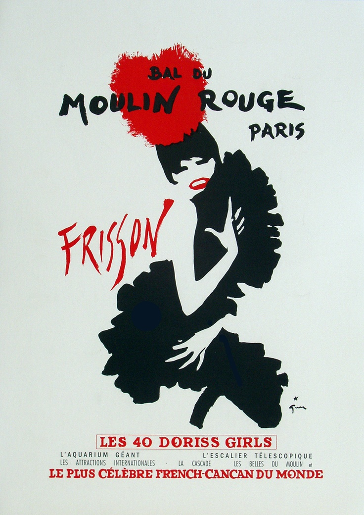 Original moulin rouge frisson poster by rené gruau 1965