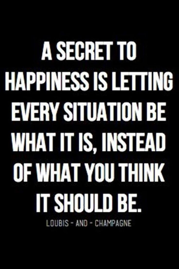 a secret to happiness is letting every situation be what it…