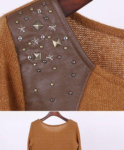 Кофточка с кожаными вставками 2240 - Кофты / Кардиганы / Пуловеры - Asia-Moda.com