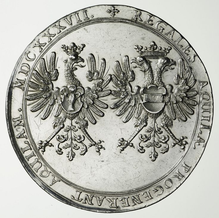 Reverse of the medal commemorating Ladislaus IV's victories over Russia, Turkey and Sweden with coat of arms of the King and his wife Cecilia Renata of Austria by Johann Höhn, 1637, Zamek Królewski w Warszawie (ZKW)