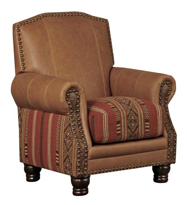 Western Creek Bed Chair Western Accent Chairs - Warm tan leather with vibrant Southwestern Stripe fabric seat cushion and accent with embossed leather on arm fronts. This is the perfect chair in pairs by the fireside.