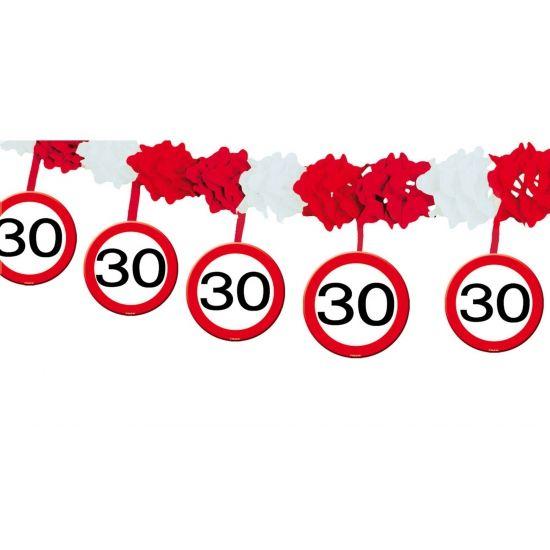 30 jaar slinger met stopborden. Papieren slinger met onderhangende verkeersborden voor een 30e verjaardag! De 30 jaar slinger is ongeveer 4 meter lang.