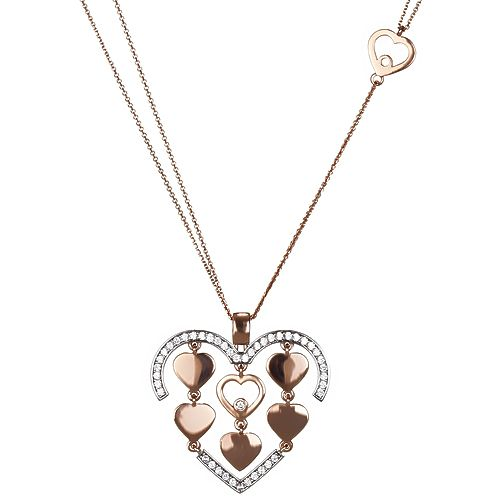 Heart necklace, pink gold!