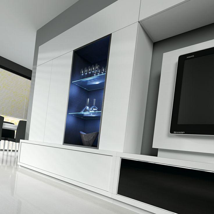 Sal n comedor con mueble tv blanco detalle ambiente 1912 for Ver salones modernos