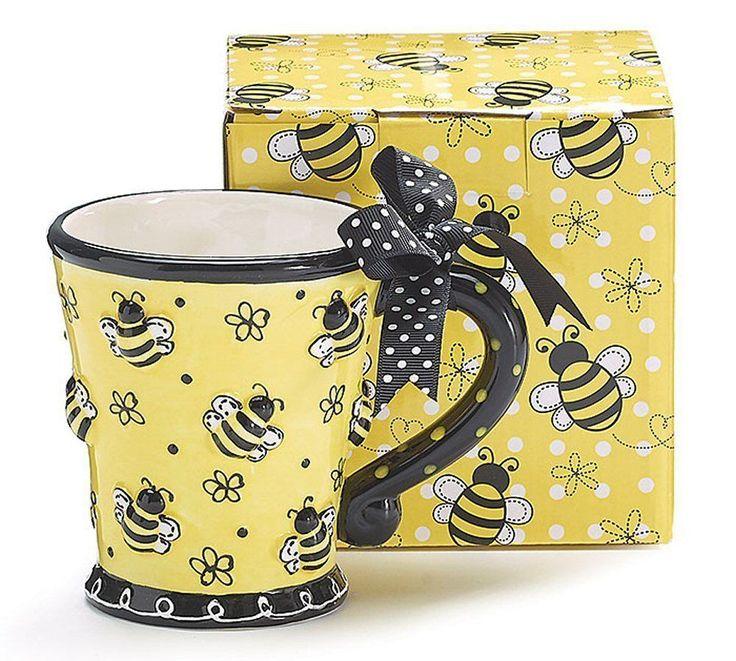 Raised BEE Days Yellow Ceramic Coffee 10oz Mug Burton & Burton #BurtonBurton