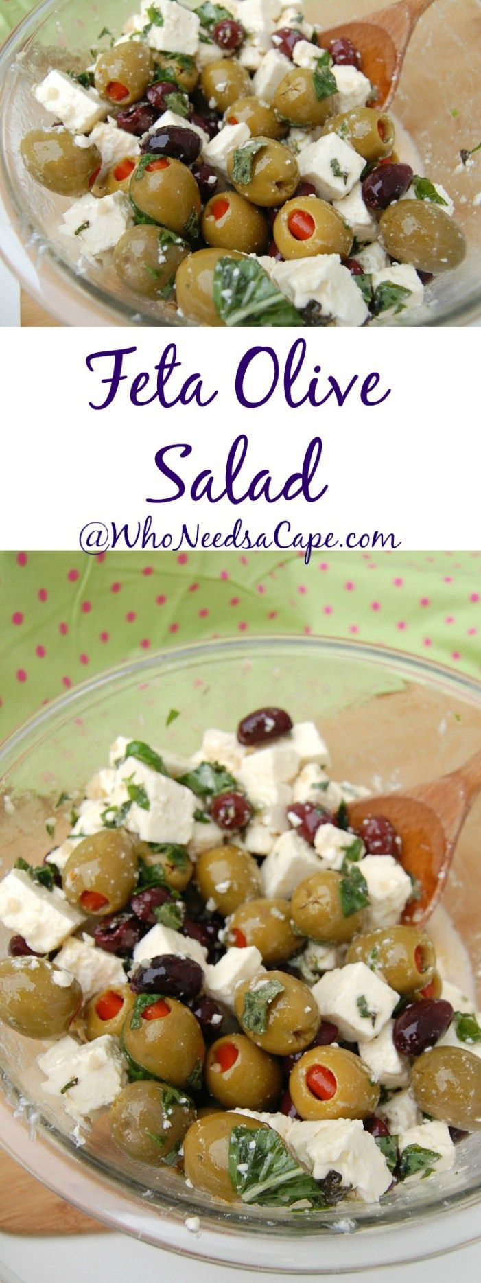 Feta Olive Salad is a great combination! Perfect side dish for any BBQ, Picnic, Or just a Saturday night!