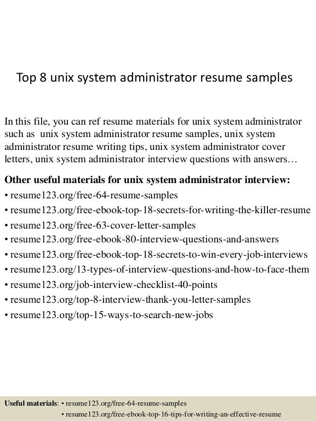 Senior Unix System Administrator Resume - The best estimate connoisseur