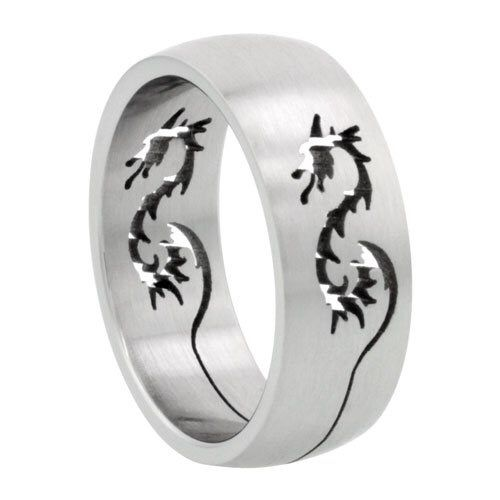 Surgical Steel Domed Wedding Band Ring Dragon Cut Outs Matte Finish Sizes 8 14