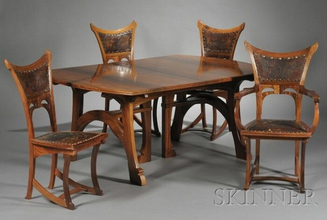 Fine Dining Room Tables And Chairs: Fine Gustave Serrurier-Bovy Art Nouveau Padouk Wood Dining