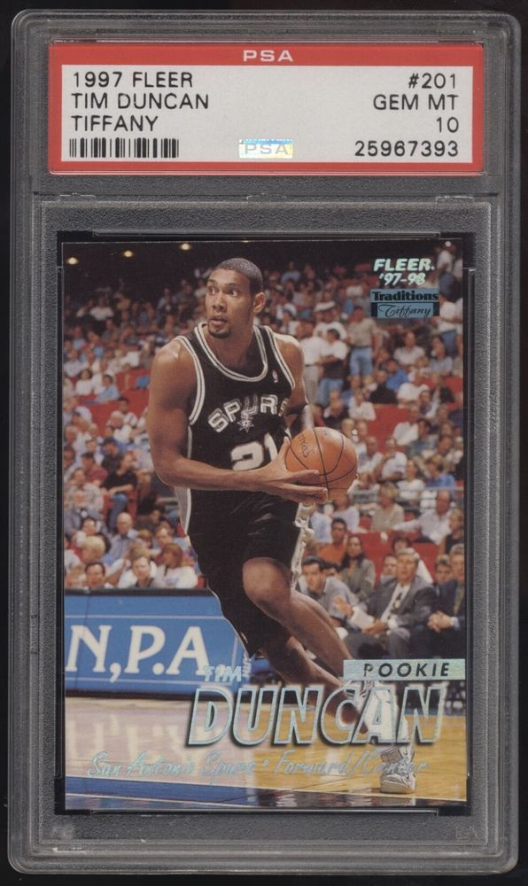 1997 Fleer Tiffany 201 Tim Duncan Rc Rookie Psa 10 Psa10