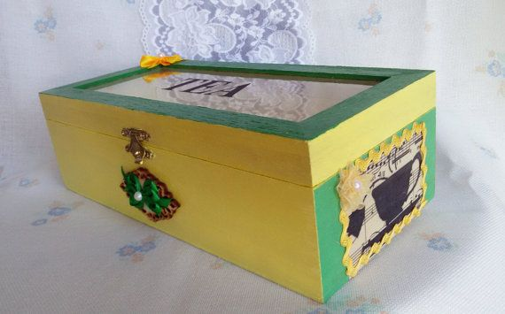 Big wooden Tea box yellow and green decoupage by Rocreanique