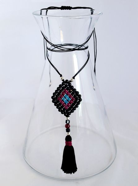 Beaded Charm Necklace_Black, Teal & Fuchsia from Fragkiski Jewellery & Sandals by DaWanda.com
