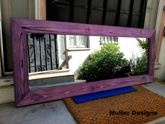 Wood Mirror  Purple Purple by MullerDesignss on Etsy, $195.00