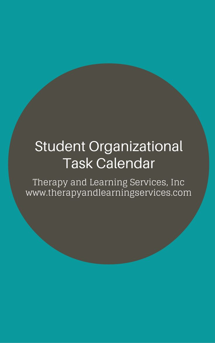 Student Organizational Daily Task Calendar - Therapy and Learning Services, Incorporated