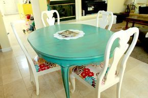 """❤️ French table painted with Behr """"Gem Turquoise"""" (Home Depot) & glazed to tone down the color. Chairs painted with Behr """"Cottage White"""". Cushions were covered in LAMINATED COTTON, like oil cloth but cheaper, that can be wiped down. (Glazing tutorial at http://www.theshowandtellblog.com/2011/01/how-i-glaze-furniture.html?m=1) ~ The Sassy Pepper: From Sorta Scary to Super Cute"""