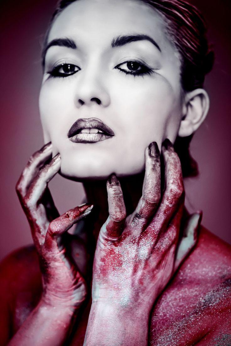 Red  Selfportrait, portrait, woman, makeup, colors,red