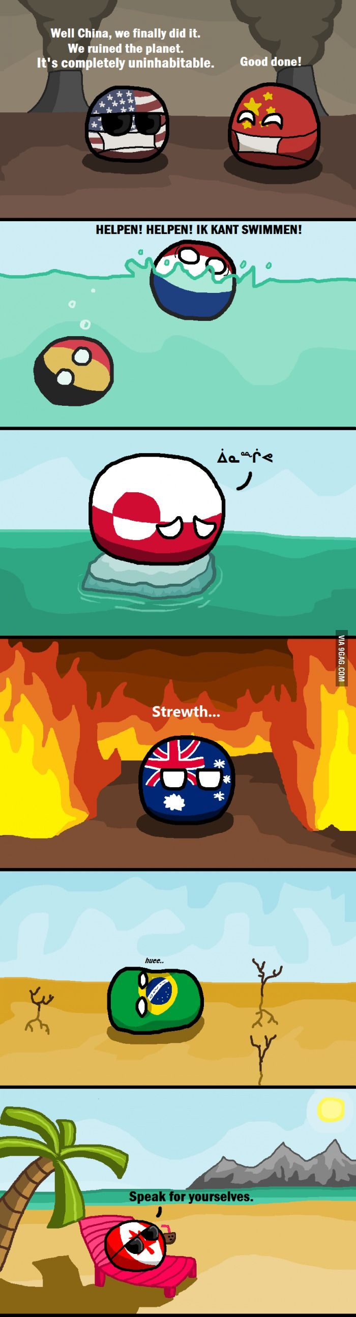 """not so bad"" Global warming (US, China, Netherlands, Belgium, Greenland, Australia, Brazil, Canada)   #polandball #countryball #flagball<-- Let me tell you about Hetalia..."