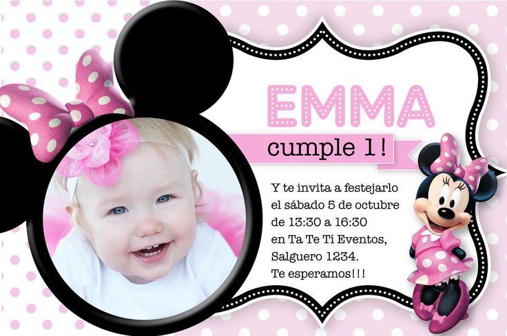 detalles invitaciones minnie mouse fiesta cumple rayas disney rosa ...