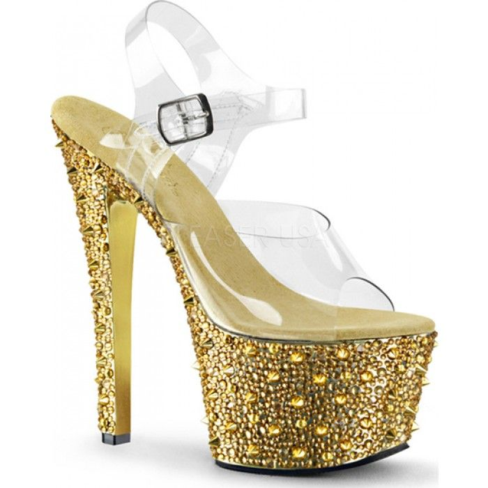 Pleaser - BEJEWELED-708SP Clear Gold Chrome
