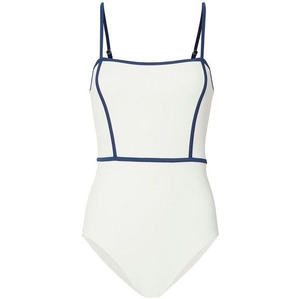 Solid & Striped Women's Lexi Swimsuit ($158) ❤ liked on Polyvore featuring swimwear, one-piece swimsuits, ivory, swim suits, swim costume, swimsuit swimwear, striped swimsuit and striped swimwear