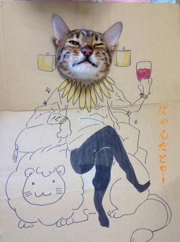 sasapong:    Cardboard Cat Art