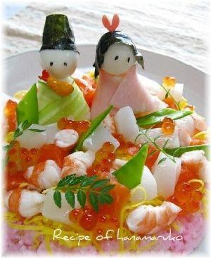 「ひな祭りのお祝いに☆ちらし寿司ケーキ♪」女の子の健やかな成長を願って、ひな祭りにはピンクや赤で華やかな、ちらし寿司を作ってお祝いをします。【楽天レシピ】