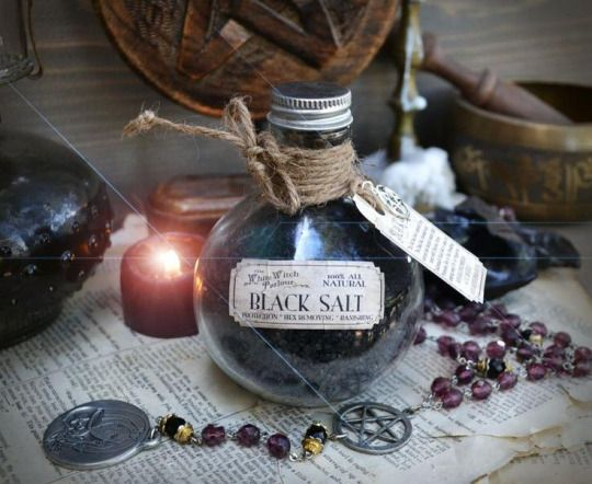 """witchcraftpedia: """" Hi Witches! Today I will show you how to do black salt or witches salt. Black salt is basic stuff, easy to do in home. It may be used, for example, to create salt circle (it's..."""