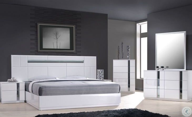 Palermo White Lacquer Platform Bedroom, White Lacquer Bedroom Furniture Nz