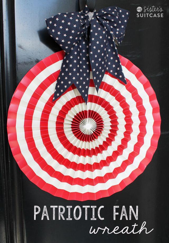 Patriotic Door Decor with paper fan from Target!