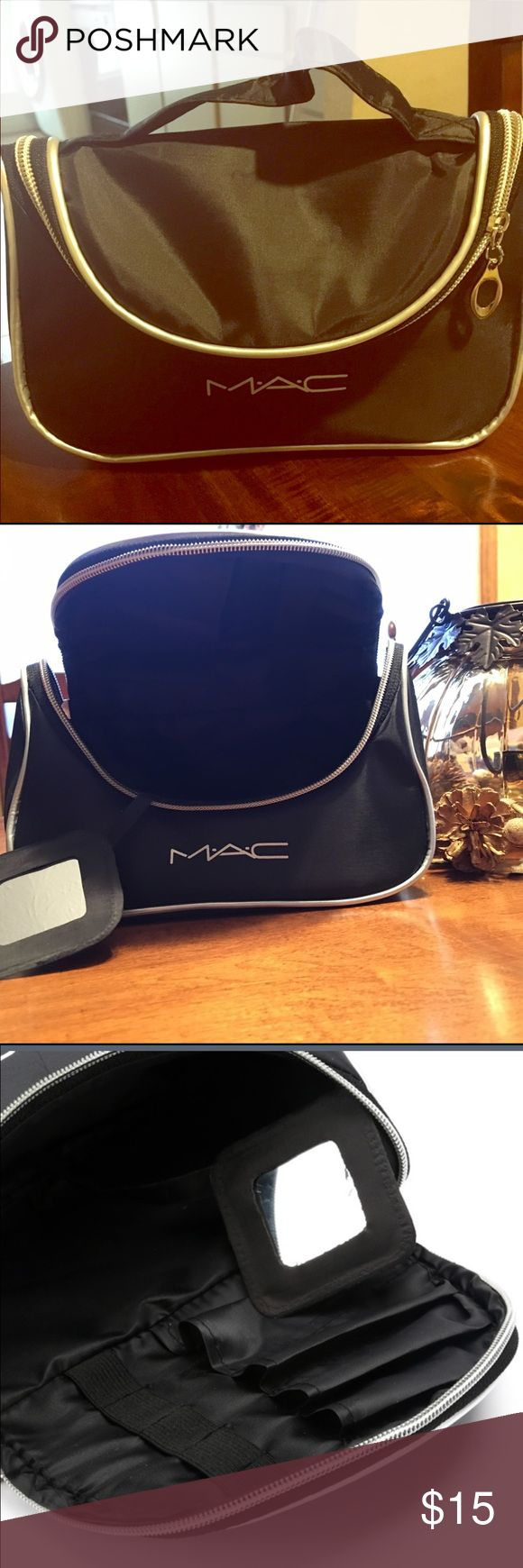 Little MAC Makeup bags This makeup bag by MAC is a combo of Cute and Classy. It's a black waterproof type of material with silver piping around the entire perimeter of the bag. It measures 4 inches deep by 8 inches in length. Attached mirror, 6 slots for brushes and band separators for lipsticks or makeup tools. A must have bag for you makeup collection. MAC Cosmetics Bags Cosmetic Bags & Cases