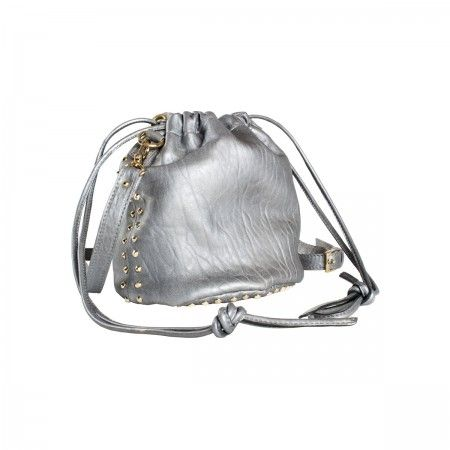Bon Bon Bag Hobo leather bag with light gold cone studs on the sides of the bag and on the bottom. Adjustable shoulder strap. Handles that allow you to carry it over the shoulder or backpack. Fully lined in black canvas. Inside leather cell phone holder pocket.