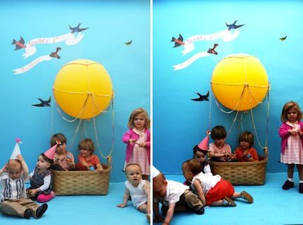 hot air balloon birthday party - photo booth