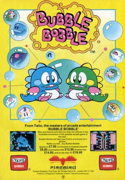 Bubble Bobble ad in Zzap!64 magazine (November 1987).