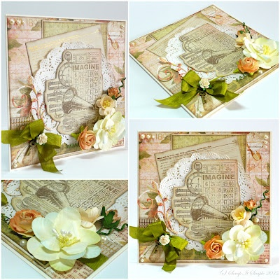 Card made with Kaisercraft Sweet Nothings  and Manor House Creations flowers