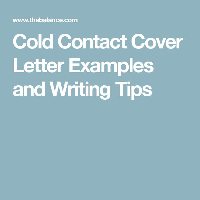 cold contact cover letter examples