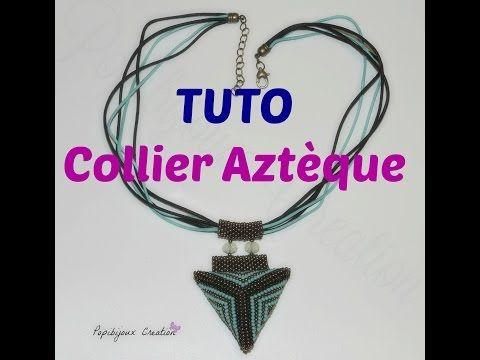 TUTO COLLIER MOTIF AZTEQUE - YouTube