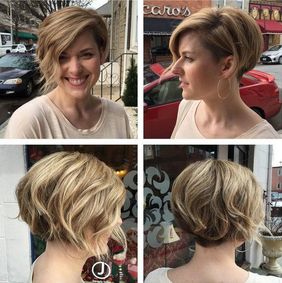 Short Hairstyles for Side Bangs - Undercut Bob - Balayage Hairstyles with Thick Hair