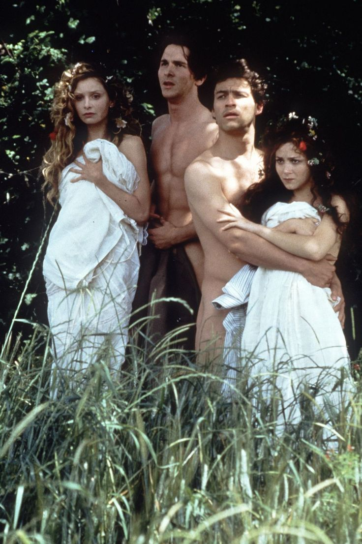 Calista Flockhart as Helena, Christian Bale as Demetrius, Dominic West as Lysander & Anna Friel as Hermia - Midsummer Night's Dream