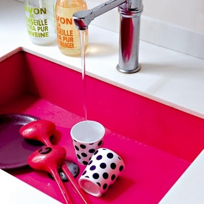 Pink sink!   Photo by Nicolas Mathéus for Marie Claire Maison: Idea, Pink Sinks, Bright Pink, Colors, Mary Claire, Pink Kitchens, Hot Pink, White Kitchens, Kitchens Sinks