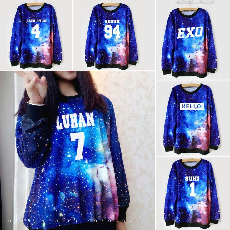 "Fabric material:cotton blend Color:galaxy blue Style:EXO,LAY-10,XIUMIN-99,KAI-88,CHEN-21,DO-12,SUHO-1,SEHUN-94,TAO-68,CHANYEOL-61,BAEKHYUN-4,KRIS-00,LUHAN-7,HELLO! Size: one size Bust:110cm/43.30"" Sho"