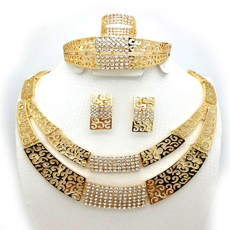 2016 Mode Femmes Dubai Or-couleur Parures Big Nigérian Bijoux De Mariage Africain Définit africain perles ensemble de bijoux