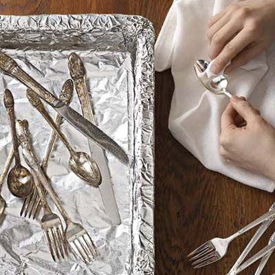 Make silver shine: Line a glass pan with foil, add several spoonfuls of baking soda, fill the pan with boiling water, and drop in tarnished silverware for a quick cleaning.