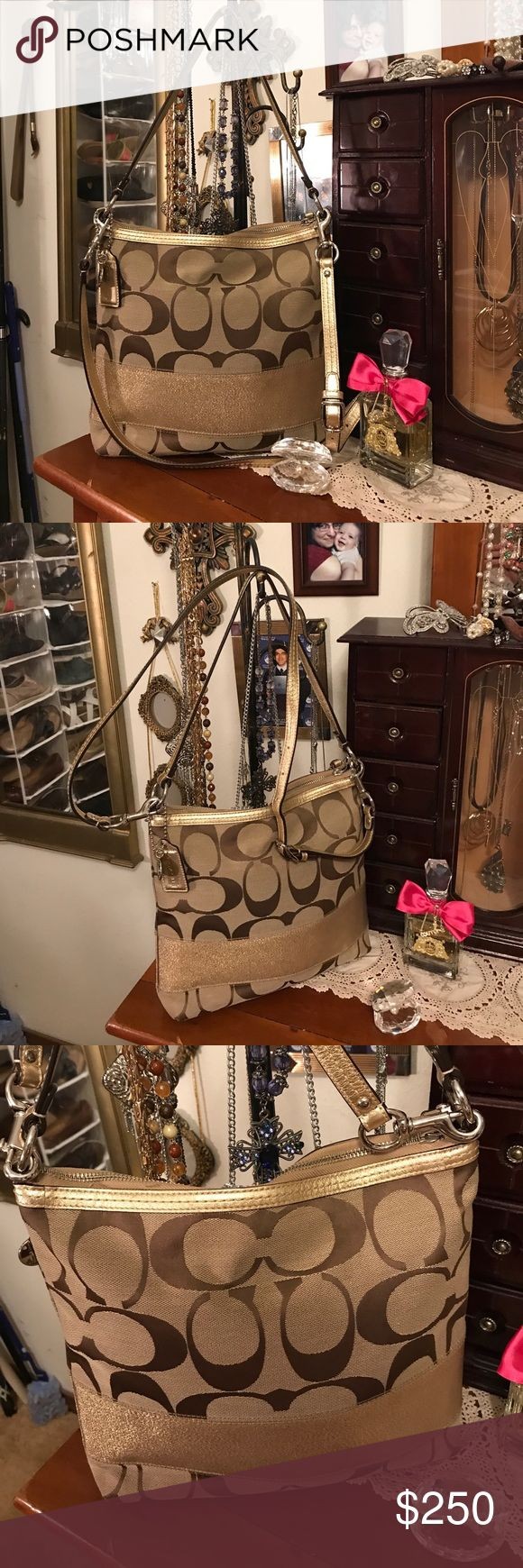 """Coach Poppy Signature Crossbody Tote Bag💃🏻🎁💐 Coach Poppy Signature Crossbody Tote Bag💃🏻🎁💐 This bag is in excellent condition there's nothing wrong and or out of the back straps are also in excellent condition. No stains tears discoloring rips tears. Size 11"""" long x 2"""" wide x 11"""" high and body strip is 41"""" long. Comes from a non-smoking home pet free. I ship Monday Wednesday and Friday if you have any questions please ask! Coach Bags Crossbody Bags"""