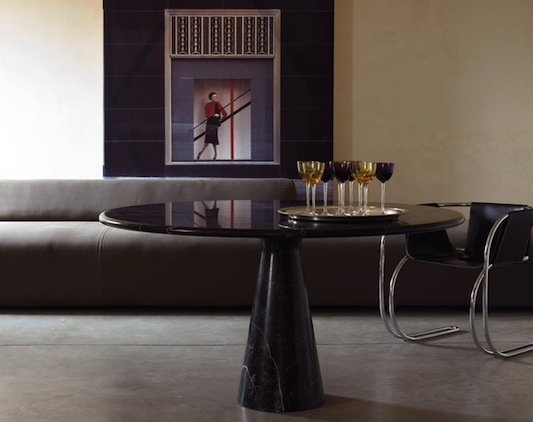 M black marble dining table by Angelo Mangiarotti. Available at SUITE New York.: