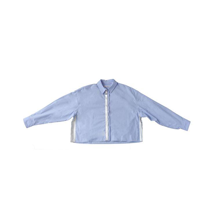 """""""Boxy Blue Silver Strip"""" Shirt"""
