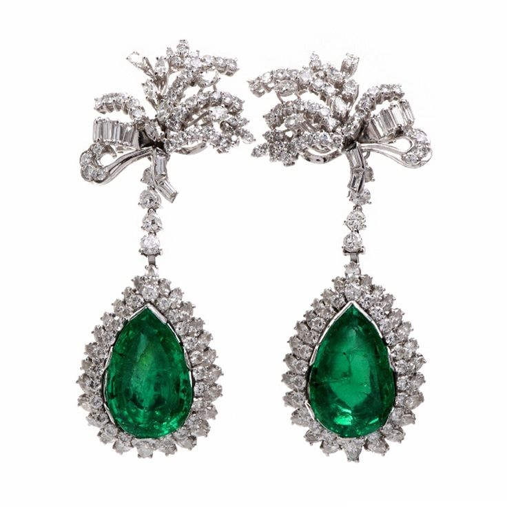 Diamond Emerald Platinum Earrings | From a unique collection of vintage drop earrings at http://www.1stdibs.com/jewelry/earrings/drop-earrings/