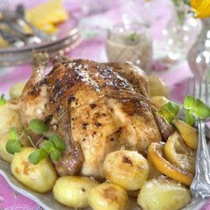 Hel kyckling med citron- & örtsmör