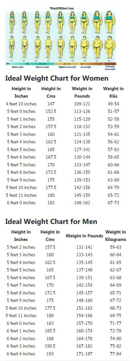 Correct Height and Weight Chart for Women and Men. Find your ideal weight to height ratio and follow the GM diet plan to reach your target weight naturally. No Pills, No Exercise, No Starving. Just eat to your hearts content and lose weight.